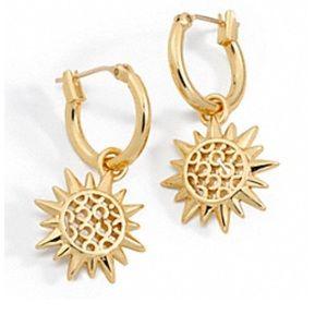 NWT COACH Gold Sunburst Drop Earrings